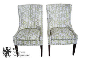 Image Is Loading 2 Pearson Traditional Armless Wingback Chairs White Green