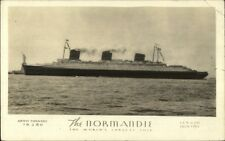 French Line Steamship Normandie World's Largest Real Photo Postcard