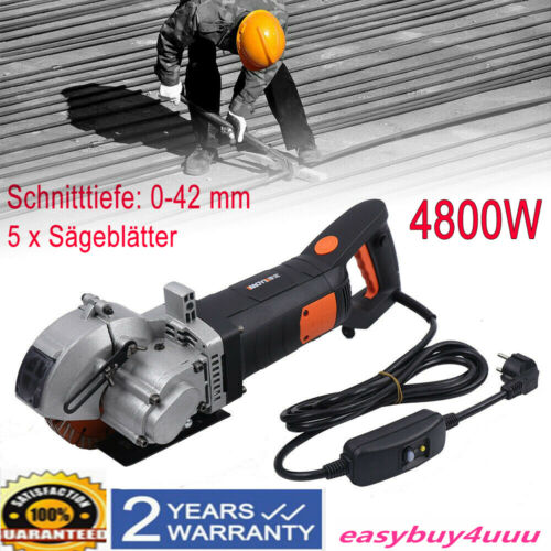 4800W 5 Trennscheiben Elektrische Mauernutfräse Schlitzfräser Wandschlit 0-42mm