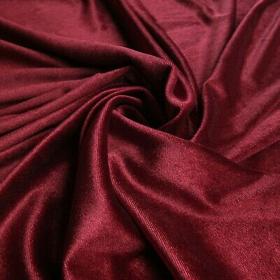 Luxury Quality Polyester Stretchy VELVET Fabric Material WINE