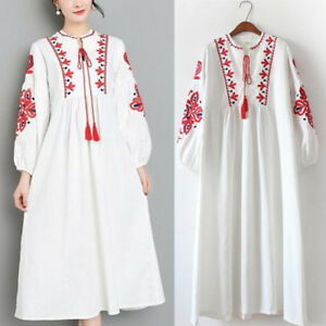 Women-Mexican-Ethnic-Embroidered-Dress-Hippie-Blouse-Boho-Long-Maxi-Loose-Dress