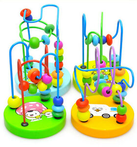 Game Baby Children Wooden Toy Mini Around Bead Wire Maze Educational Colorful TS