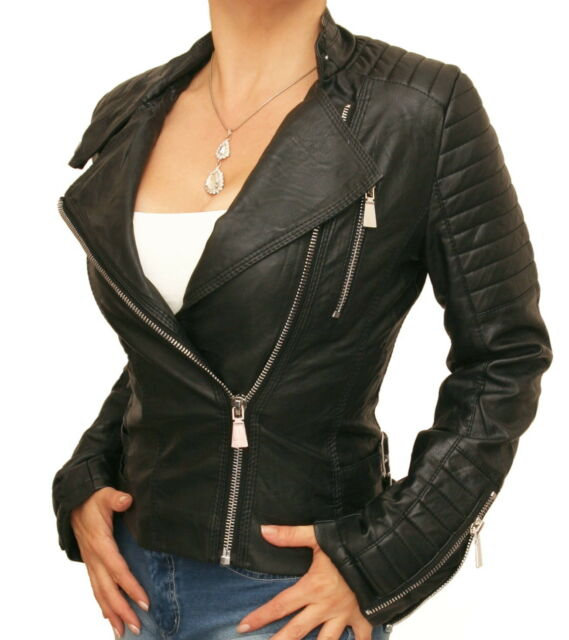 New Black Leather Effect Zip Up Biker Jacket