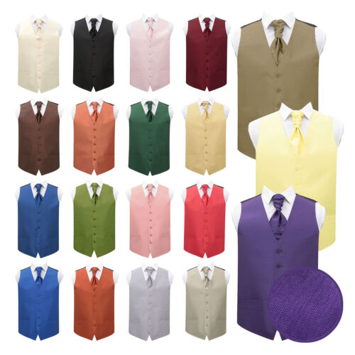DQT New Plain Shantung Formal Tuxedo Vest Mens Wedding Waistcoat Cravat FREE Pin