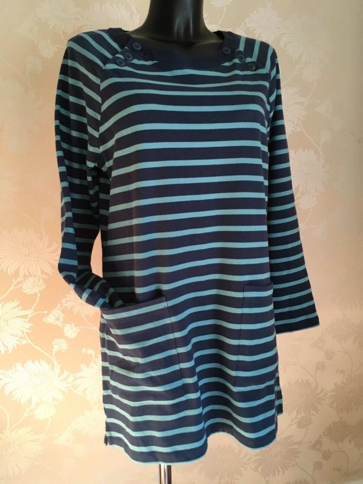 SEASALT Tamper Striped Tunic Top Thick Cotton Breton Night Eucalyptus BNWT