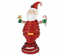 Qvc Metal Bobble Christmas Decoration Santa W/ Flameless Candle