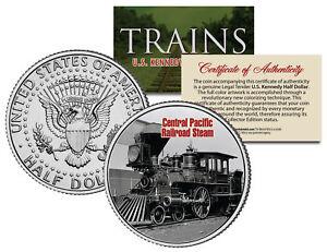 CENTRAL-PACIFIC-RAILROAD-STEAM-Famous-Trains-JFK-Half-Dollar-U-S-Coin