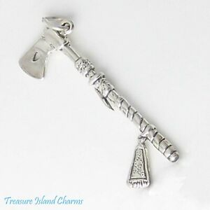 Tomahawk Native American hache outil 3D .925 Solid Sterling Silver Charm Pendentif