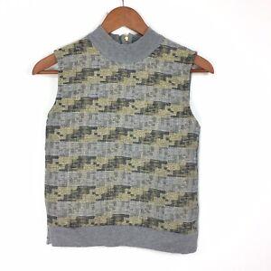 Zara-Grey-Gold-Metallic-Geometric-Pattern-Thin-Sleeveless-Tank-Sweater-S-8-10