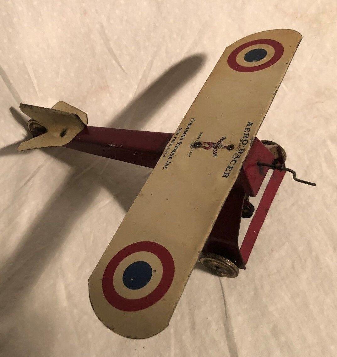 Ferdinand Strauss Aero-Racer Scatola di Latta Giocattolo Elastico Aeroplano