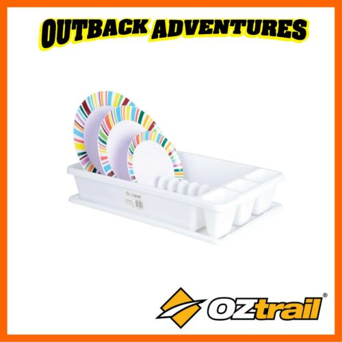 OZTRAIL DISH RACK PLASTIC WITH TRAY WHITE CAMPING CARAVAN CUTLERY DINNER PLATE