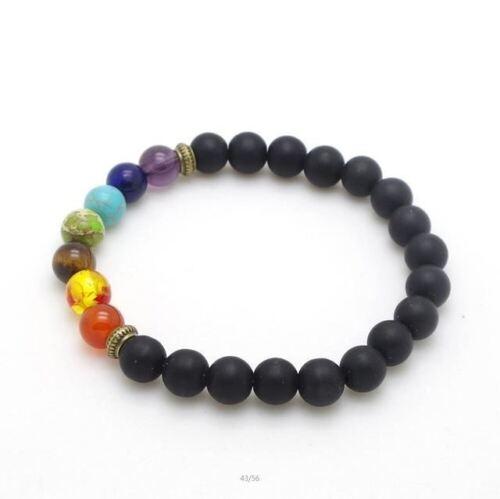 Men/'s Women/'s 7 Chakra Mixed Stone Healing Pray Bracelet Lava Rock Beads Jewelry