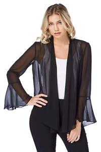 Roman-Originals-Women-039-s-Black-Sheer-Chiffon-Jacket-Sizes-10-20