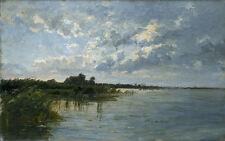 Oil painting carlos de haes - Lagunas holandesas Dutch gaps stunning landscape