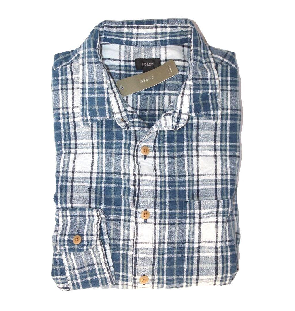 J Crew - HERREN S - Regular Fit - Marineblau Kariert Gewoben Slub-Cotton  | Qualität und Verbraucher an erster Stelle