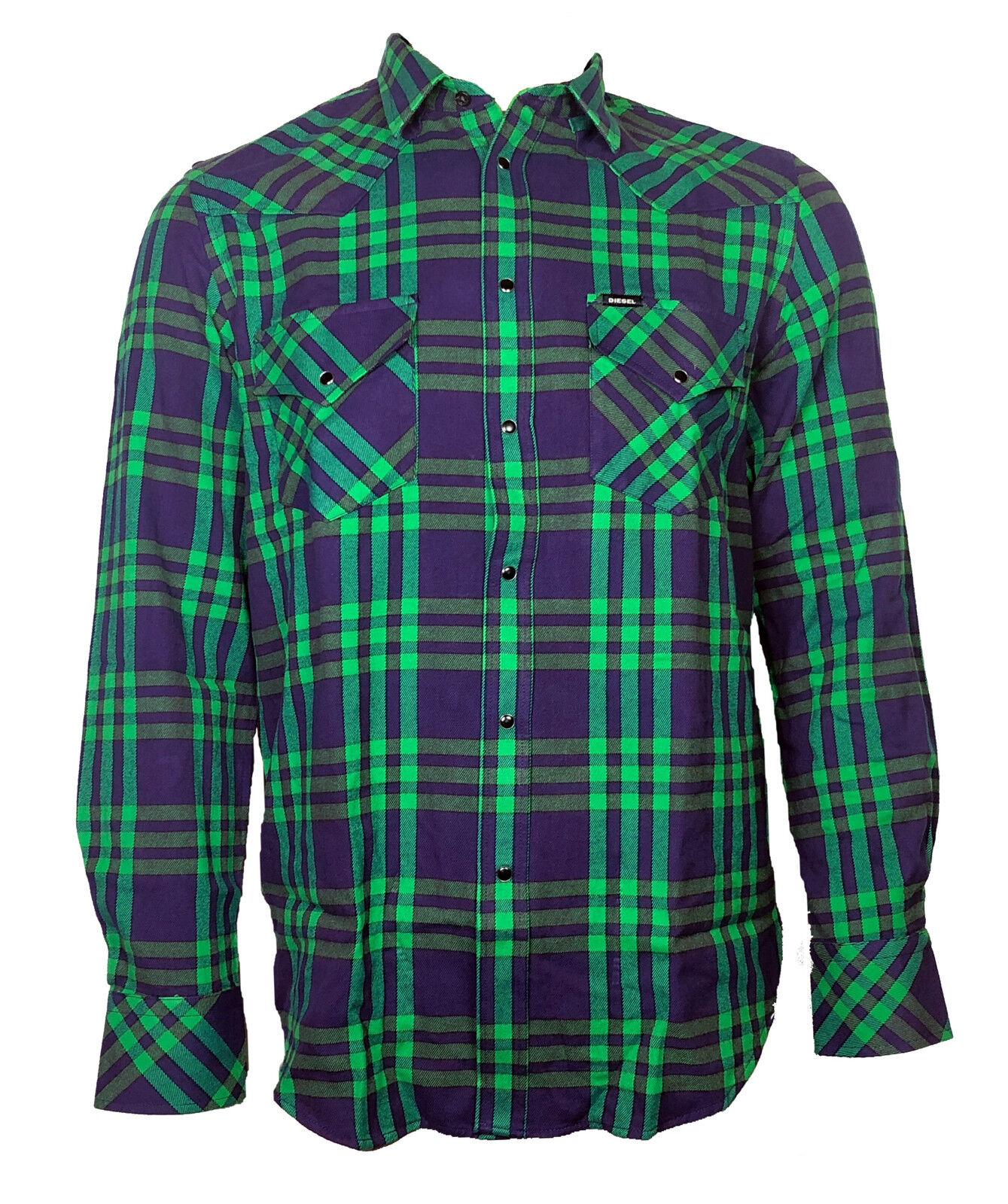 DIESEL Herren langarm Hemd     EAST-LONG  blau grün kariert  Gr. L  NEU | Fairer Preis  8ee5c1