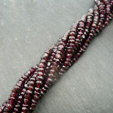"Garnet Faceted Rondelle Beads 15"" Strand Semi Precious Gemstone"