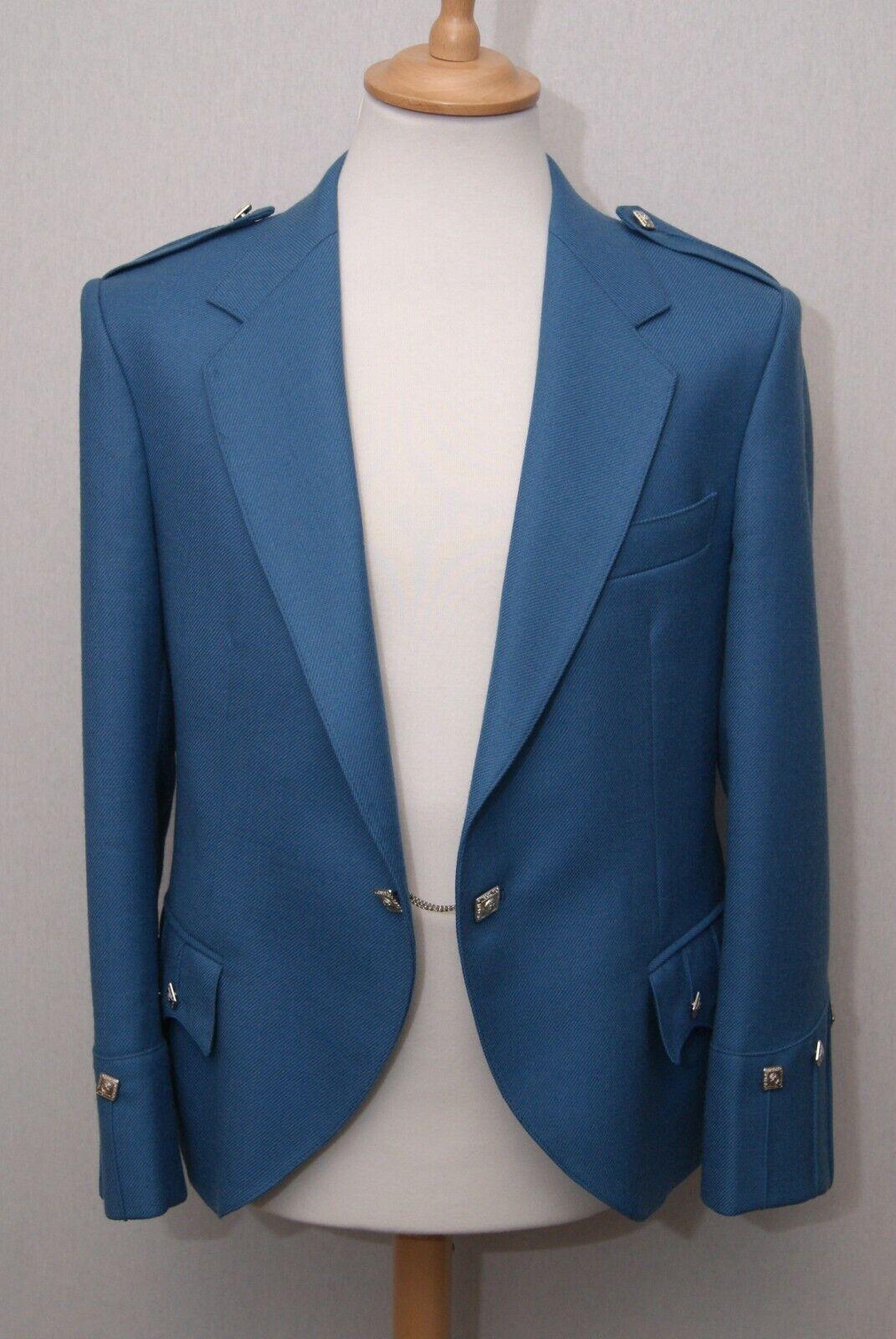 Scottish made men's blue barathea wool Argyle kilt jacket 40