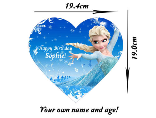 FROZEN DISNEY Personalised Cake Toppers Edible Icing Sugar Heart Shape IMG c