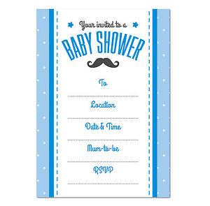 Baby shower invitation pack of 16 boys blue moustache theme ebay image is loading baby shower invitation pack of 16 boys blue filmwisefo