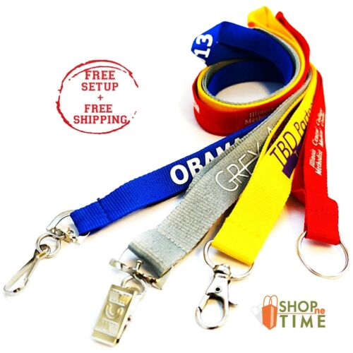 Custom Trade Show Polyester 1/2 Lanyards Printed With Your Logo / Text 100 QTY