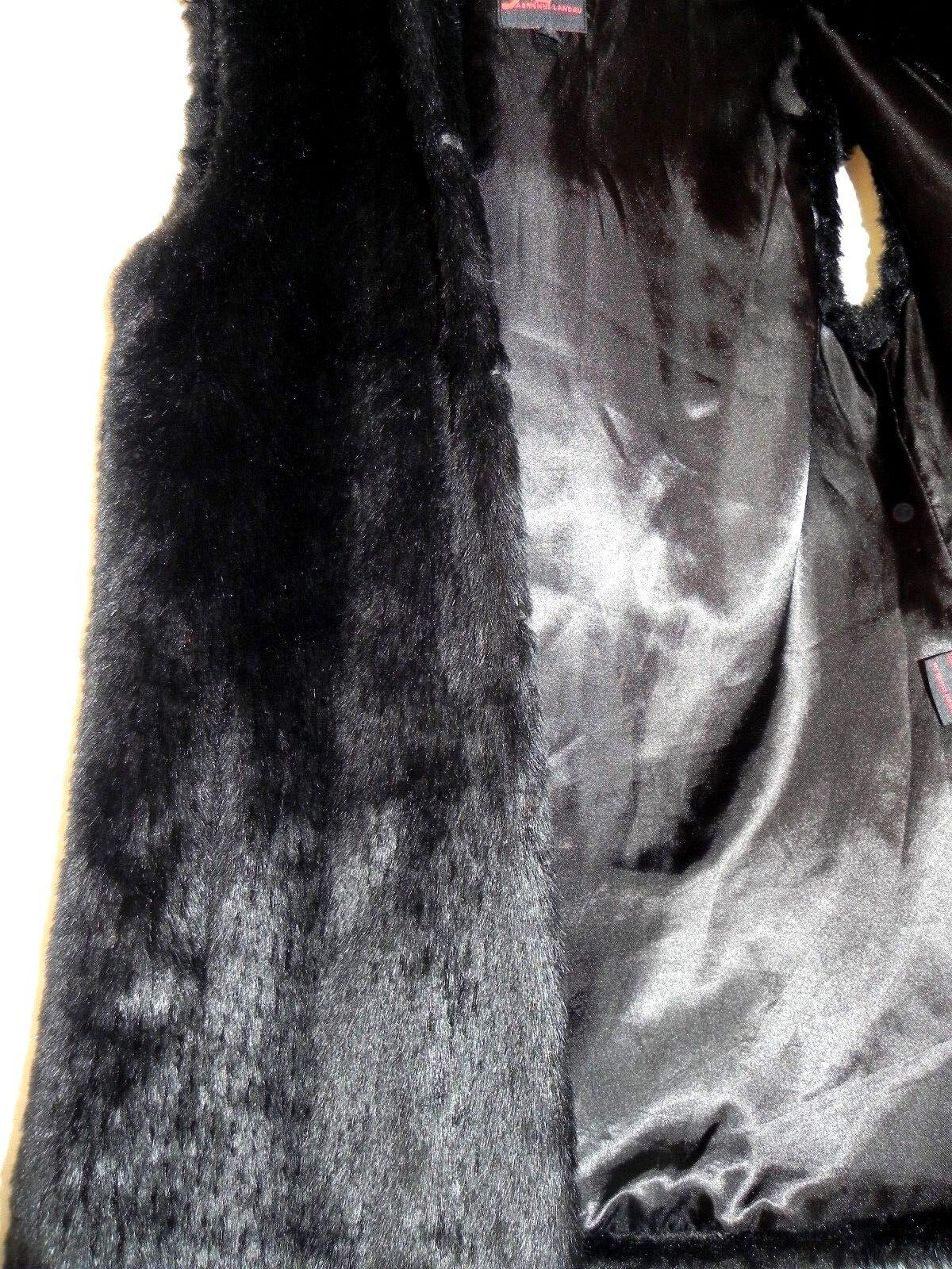 ADRIENNE LANDAU Negro Imitación Piel Piel Piel Sin mangas Chaleco con capucha Tamaño Mediano 556ac5