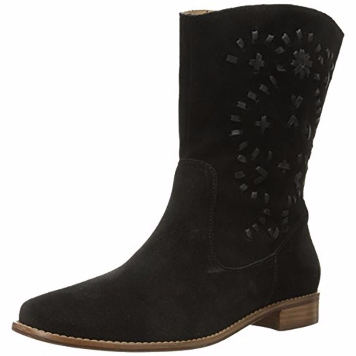 $248 NEW Jack Rogers KAITLIN Suede Boots Black Stitches Mid Calf Shoes 6