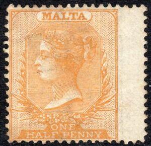 Malta-1880-Bright-orange-yellow-1-2d-crown-CC-lightly-mounted-mint-SG12
