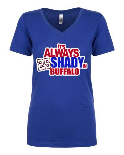 """V-NECK Ladies LeSean McCoy Buffalo Bills /""""Always Shady In Buffalo jersey shirt"""