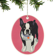 GO DOG by PAPER RUSSELL Hanging Ornament BOSTON TERRIER Puppy Stoneware HOLIDAY