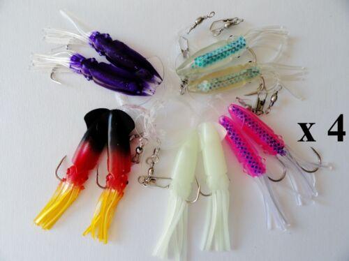 """5-20 packs 4.5/"""" Ling Cod Calmar Rigs deux ampoules Squid Pêche Appâts Sélectionner Packs"""