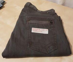 W33 L32 100 Jeans in grigio Fly Bottone scuro Mens Replay cotone pB4zwz