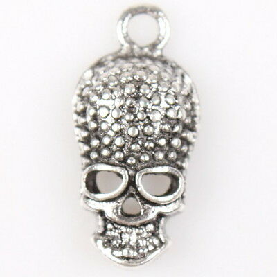 50x Charms Antique Silver Tone Halloween Dots Skull Head Alloy Pendants Jewelry