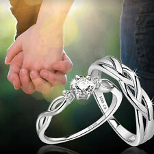 2PCS 925 Silver Plated Intertwined Rhinestone Adjustable Matching Couple Rings