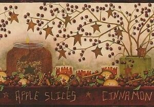 Wallpaper-Border-Country-Apples-Candles-Stars-Spices-Berries-Rosehips-Red-amp-Tan