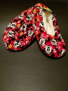 9f0b03f05 NEW Disney Minnie Mouse Girl's Fuzzy Babba Slipper Socks Size M/L ...