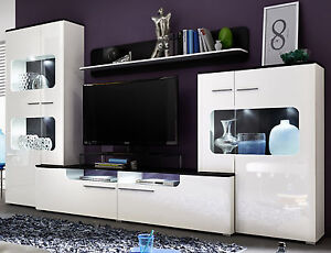 Das Bild Wird Geladen Wohnwand Weiss Hochglanz Wohnzimmer Schrankwand Moebel Inkl LED