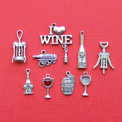 COL015 Wine Charm Collection Antique Silver Tone 9 Different Charms
