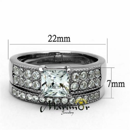 His /& Her 3 Pc Stainless Steel 2.07 Ct Cz Bridal Set /& Men Zirconia Wedding Band