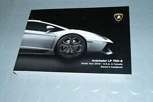 2012 Lamborghini Aventador LP 700-4 Owners Manual - HandBook U.S.A & Canada