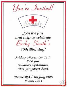 20 Custom Birthday Party Invitations Nursing Nurse