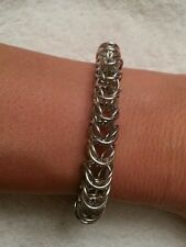Handmade box 8mm silver chain maille bracelet. NWOT custom sizes