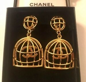 Image Is Loading Vintage Chanel Gold Birdcage Celeb Favourite Statement Earrings