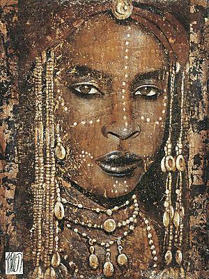 Fabienne Arietti: Regard peul Afrika Frau Fertig-Bild 60x80 Wandbild