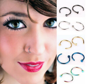 10Pcs-8mm-Small-Thin-Surgical-Steel-Open-Nose-Ring-Hoop-Piercing-Stud-Gift