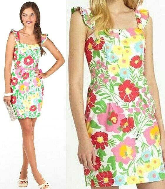 198 Lilly Pulitzer Sarafina Big Garden by the Sea Floral Shift Dress