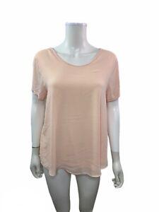 Ann-Taylor-Loft-Women-s-Size-Large-Woven-Knit-Scoop-Neck-Pink-Blouse