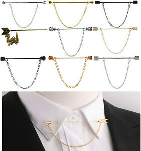 Nouvelle-Chemise-Col-Broche-Vis-Pointe-Acier-Inoxydable-6-cm-Tie-Bar-libre-amovible-Chaine