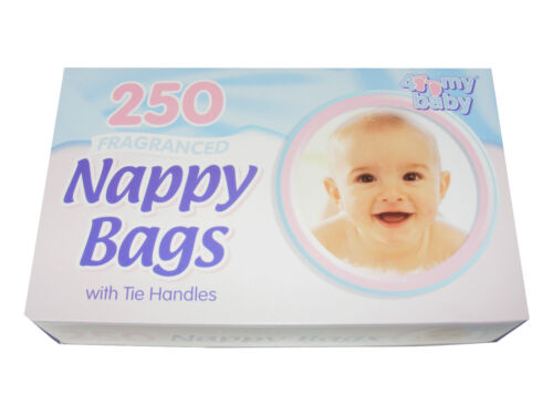 250 FRAGRANCED BABY NAPPY CHANGING BAGS SACKS WITH TIE HANDLES