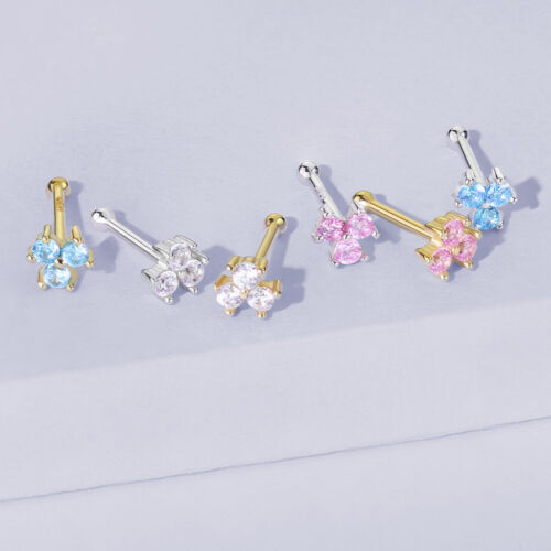 1pc Solid 14kt Yellow or White Gold 20g Trinity CZ Gems Nose Ring Stud Bone